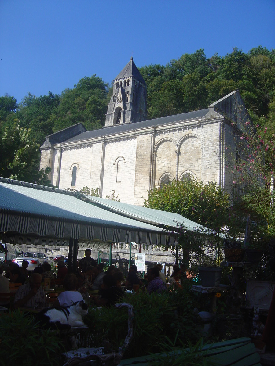 Brantome abbey Church from the town