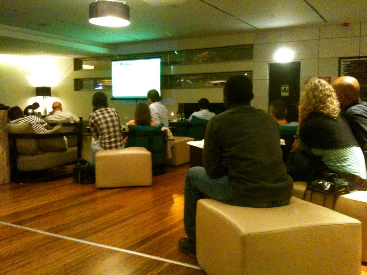Watching a soccer game in the lobby with my 'hotel mates'