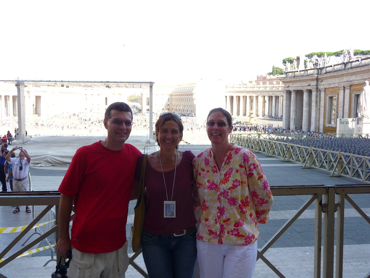 With our wonderful guide Sonia Tavoletta in front of St Peters Basilica