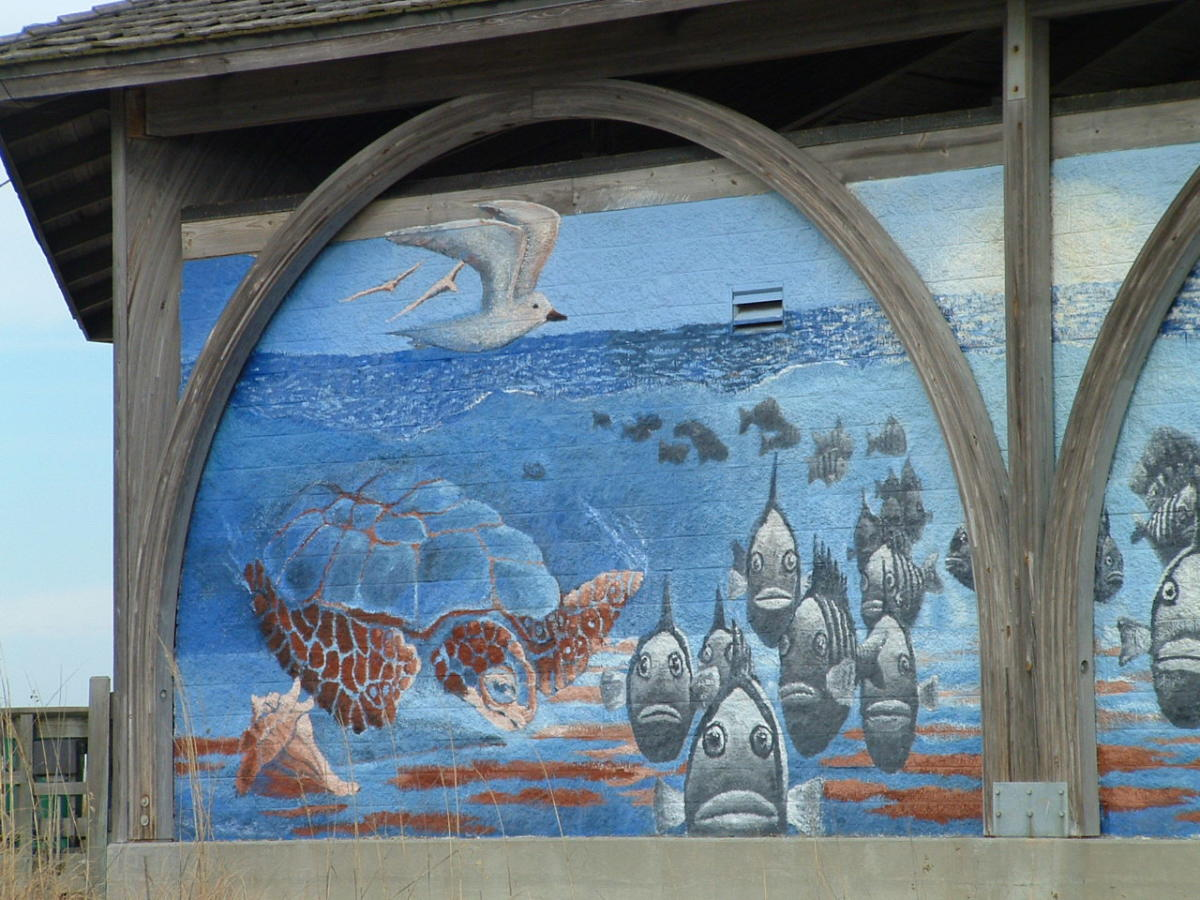 Close up of pavillion mural.