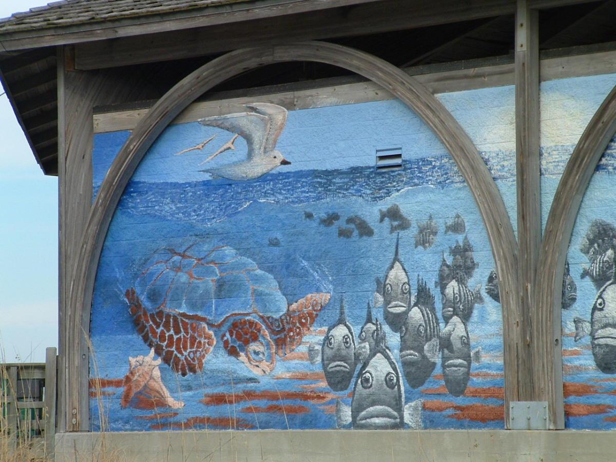Close-up of mural on Tybee Island Fishing Pier Gazebo entrance.