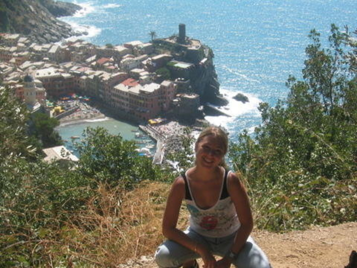 This is me at Cinque Terre in Italy - a great backpacker's destination!