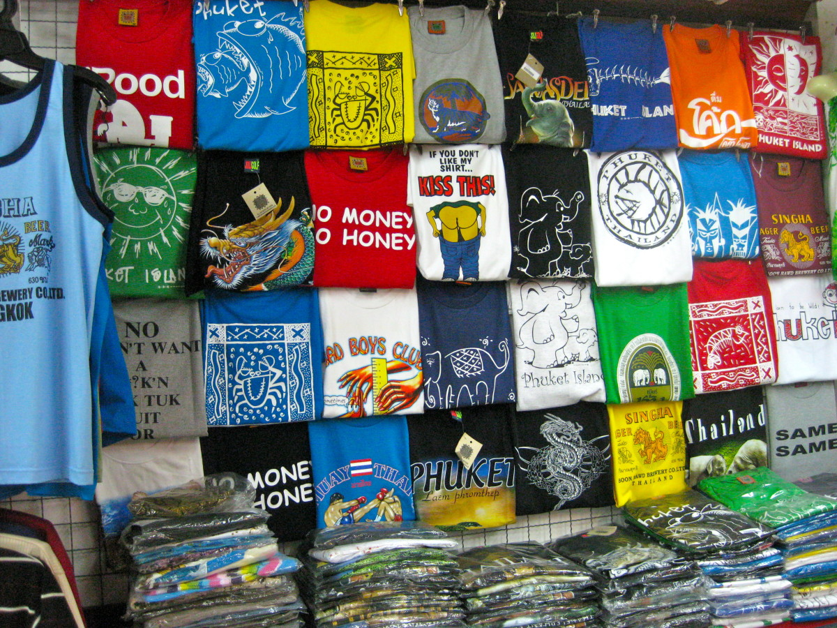 There are lots of funny and oftentimes not so PC t-shirts in Thailand