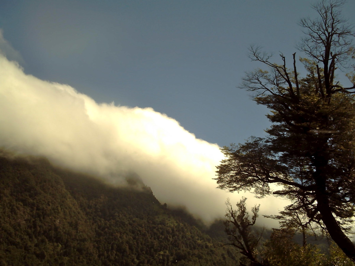 The clouds hung low over the mountains