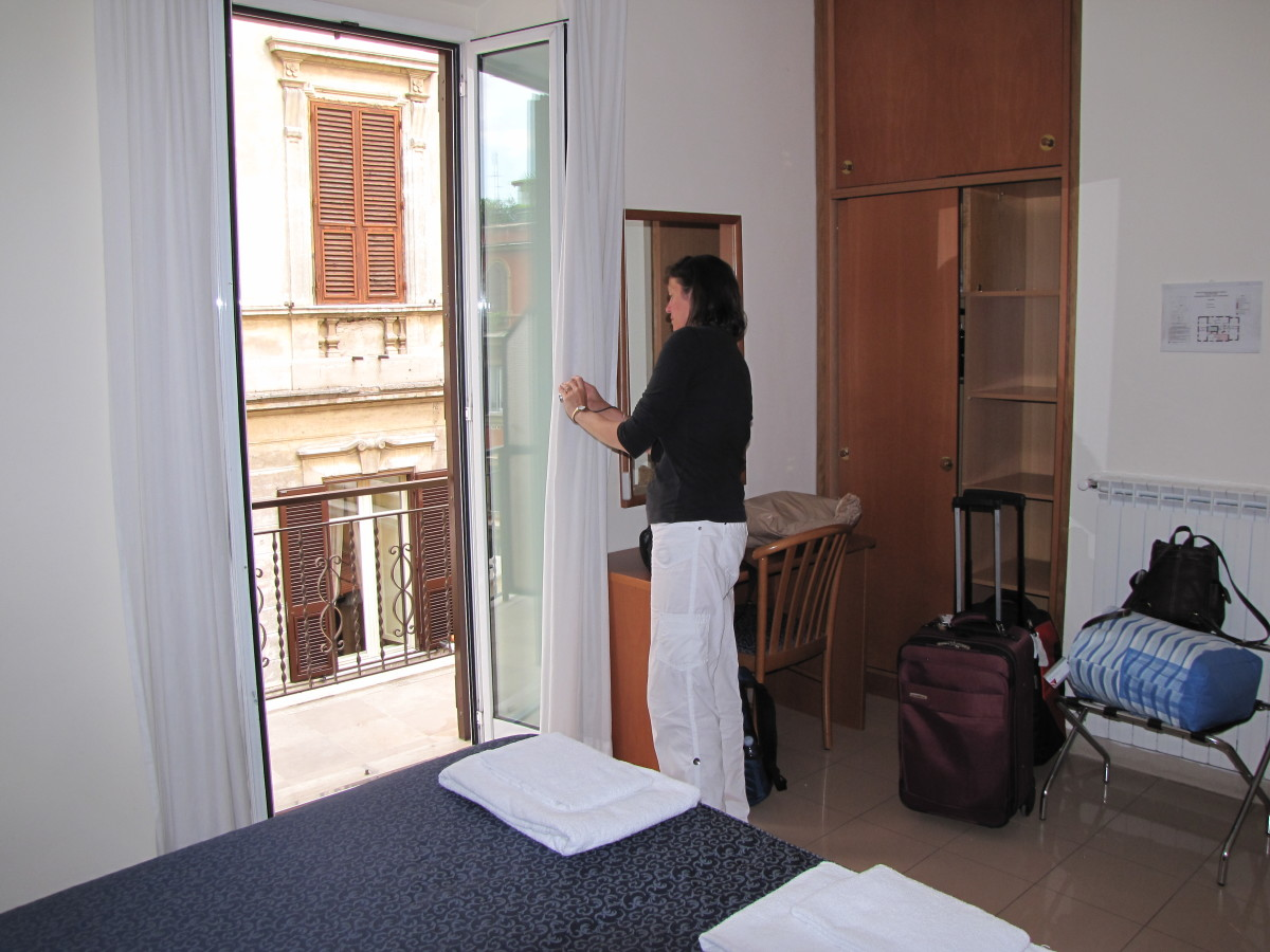 Piccole Suore della Sacra Famiglia.  Great room with a balcony, a huge bathroom, and air conditioning.  Don't know how you can do better than this for 60 euro in Rome.