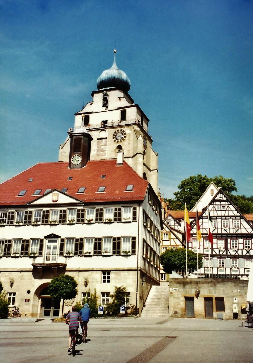 Rathaus with Stiftskirch behind it in Herrenberg.