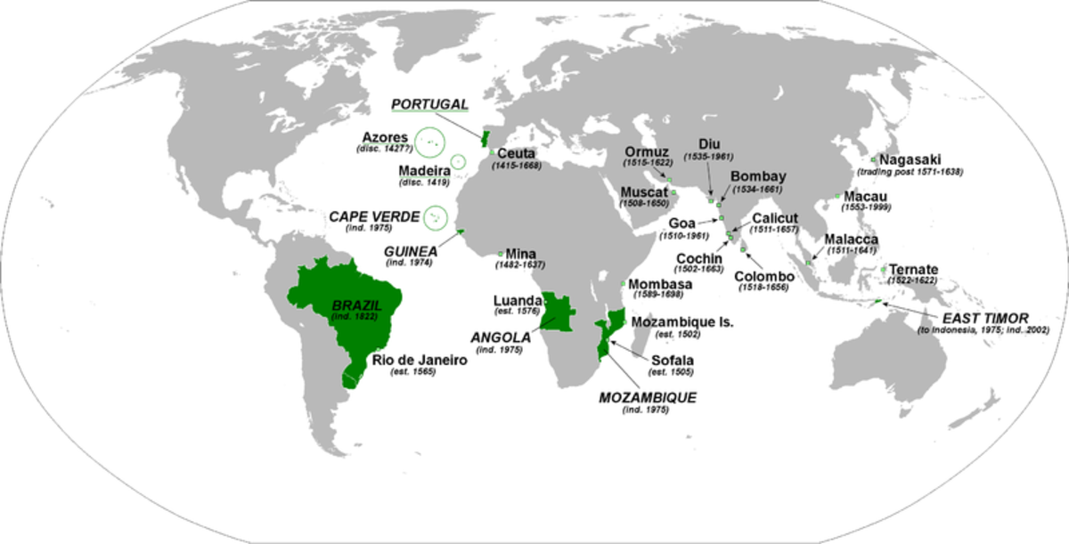 The Portuguese Empire was huge—its former territories are annotated in green on this map.
