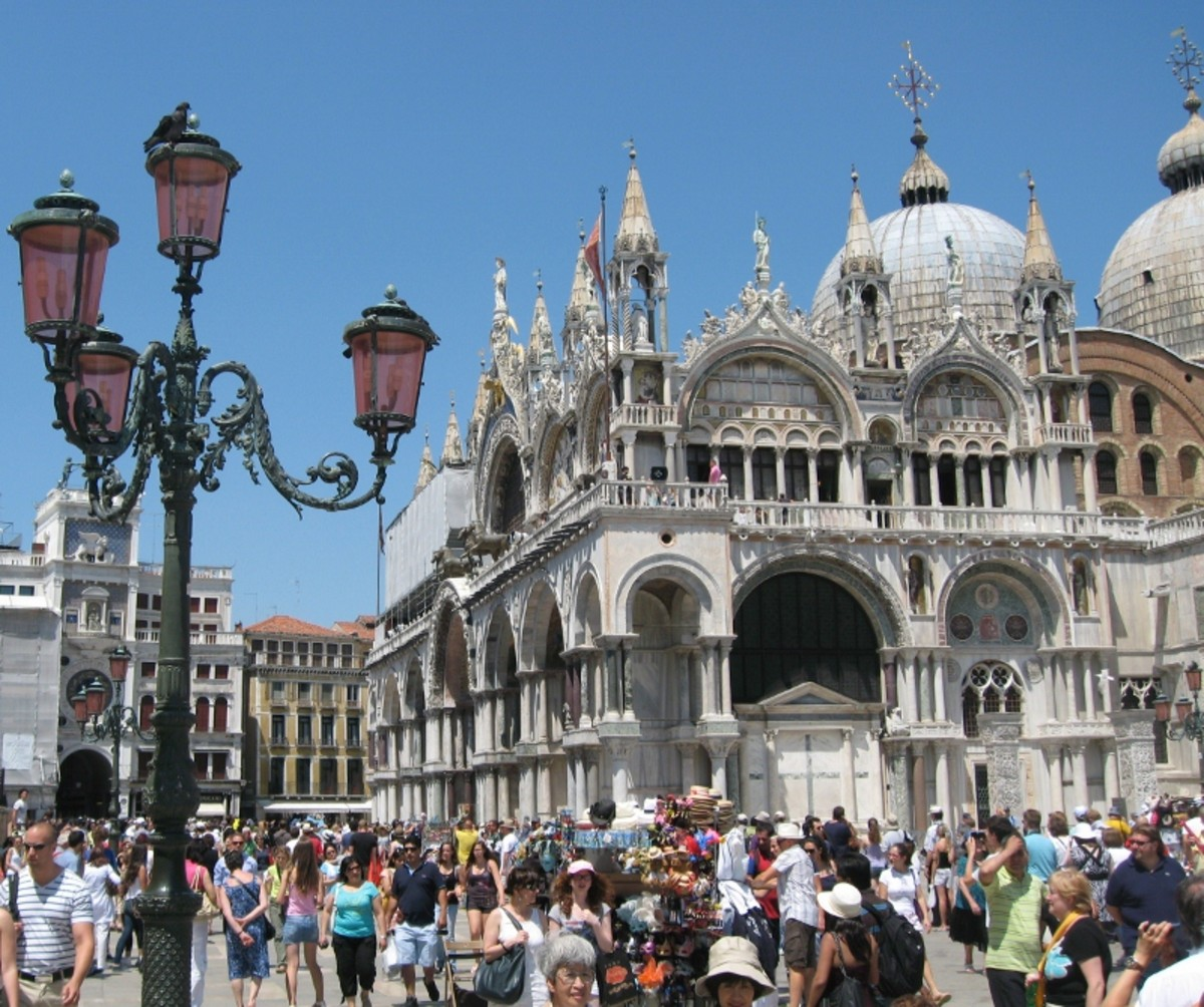 Saint Mark's Basilica, Venice on a very crowded summer weekend.