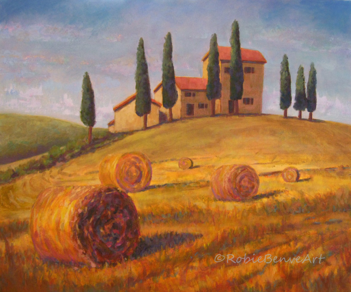 painting of a landscape in Tuscany with hay bales.