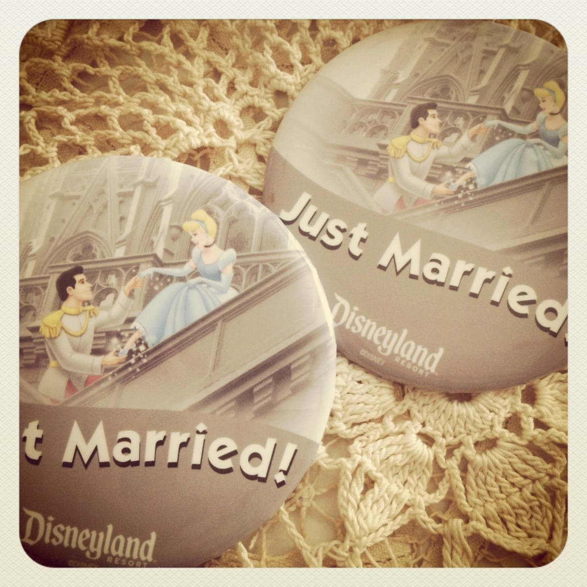 "our ""Just Married"" buttons"