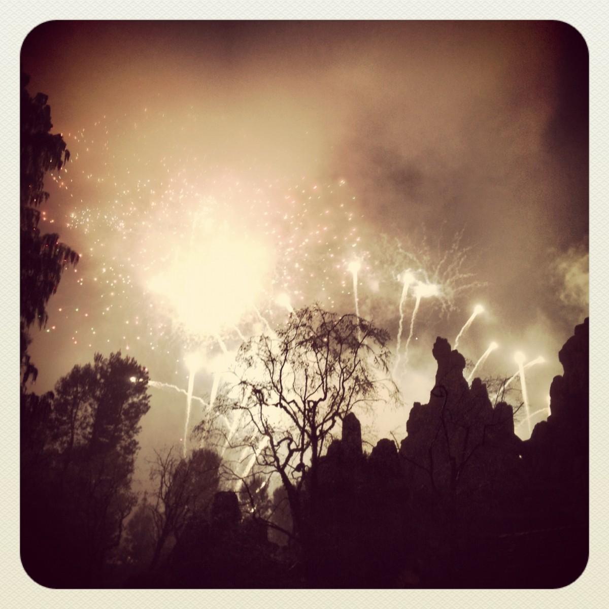 fireworks over Big Thunder Mountain