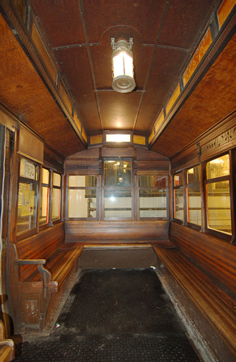 View of the inside of a Duquesne Incline Car