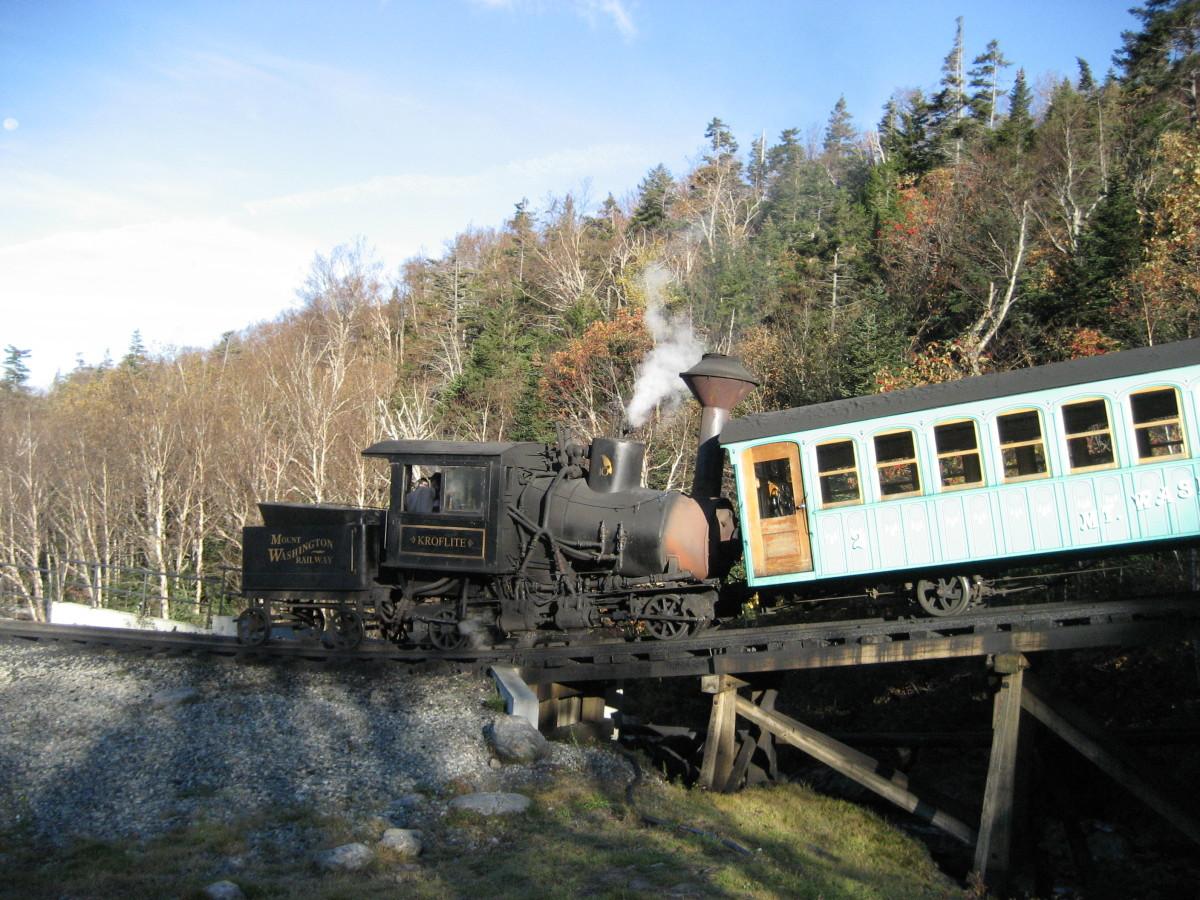 Coal-fired engine and passenger car at the Mount Washington Base Station