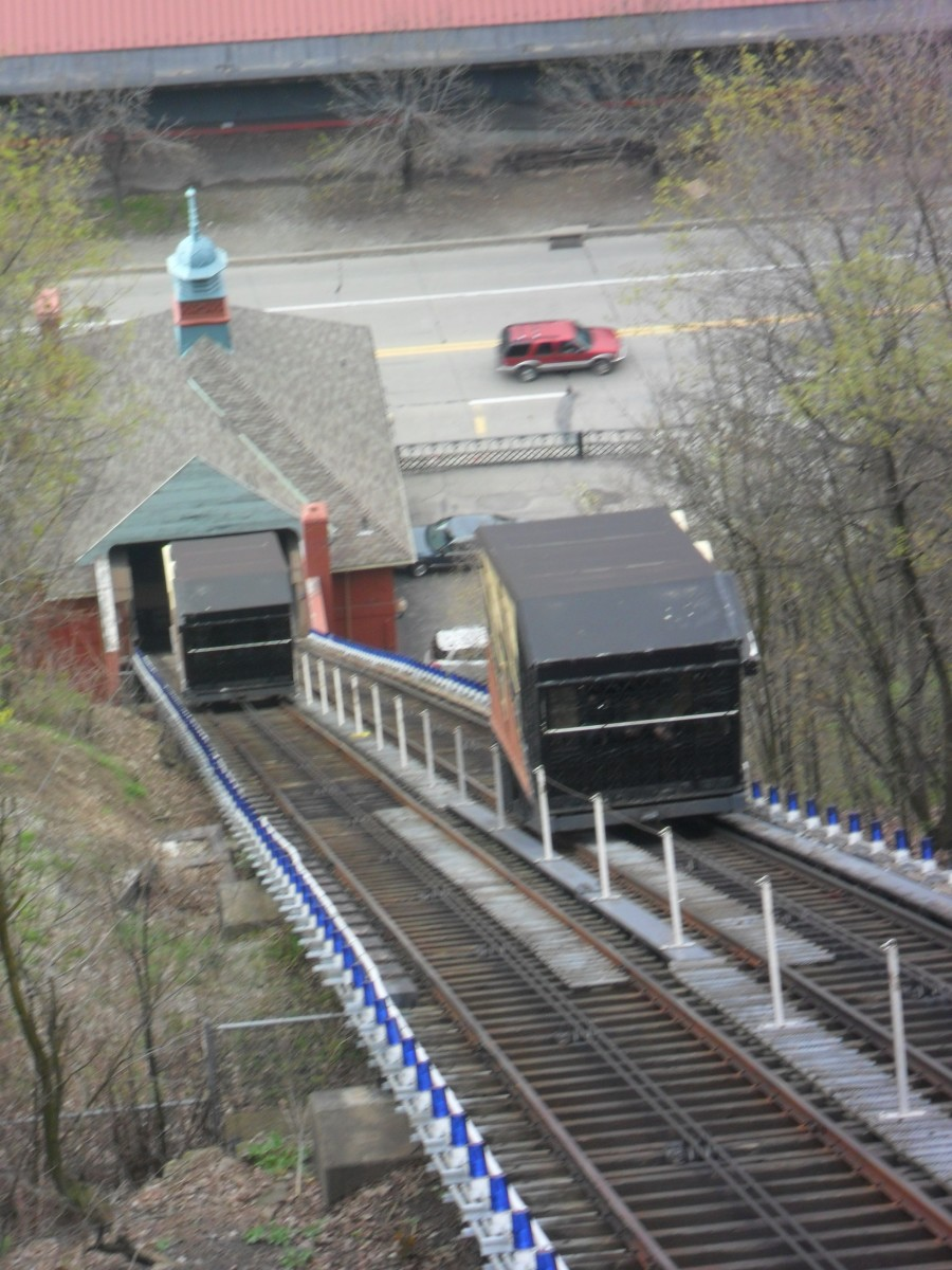 Monongahela Incline looking down toward the Station Square Station.