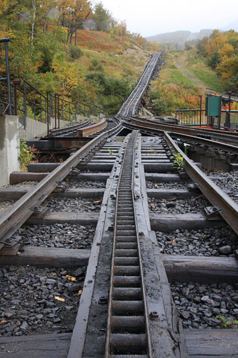 View of the Mount Washington Cog Railway track.