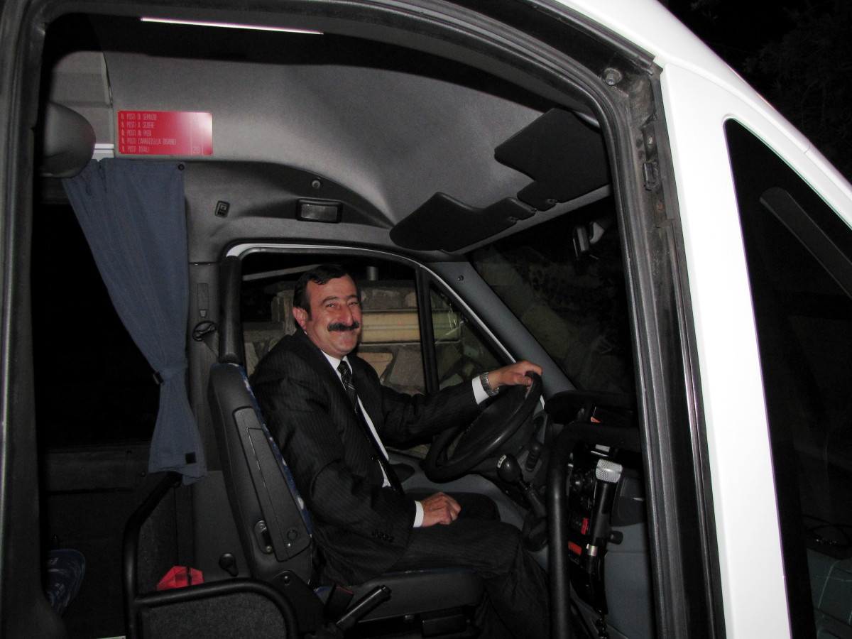 Our smiling shuttle driver