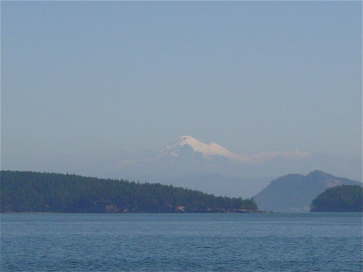 View from the ferry of Mt. Baker, North Cascade NP.
