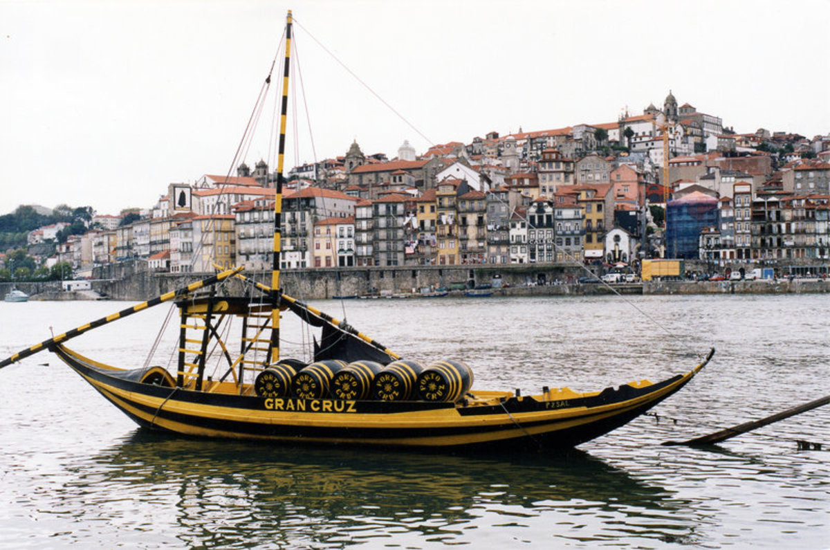 The typical rabelo boat that traditionally transferred Port from the Douro region to Porto to be aged.
