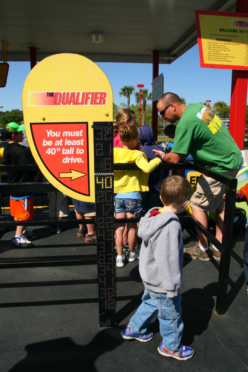 "The minimum height to ride on the children's racetrack is 40""."