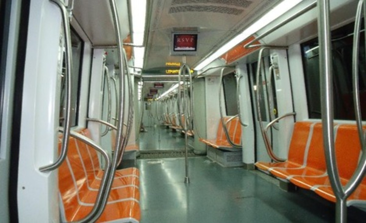 Inside the Metro train