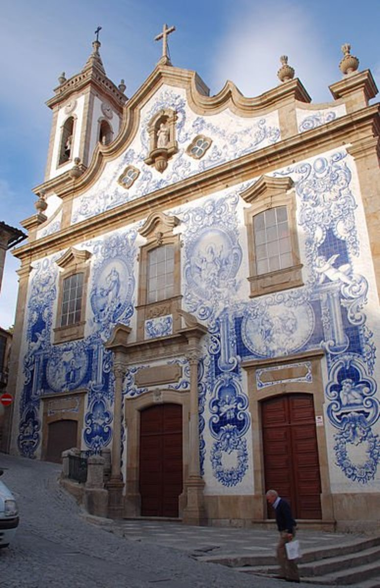 """Azulejo"", Portuguese ceramic tile is used both on the outside and inside of buildings and homes."