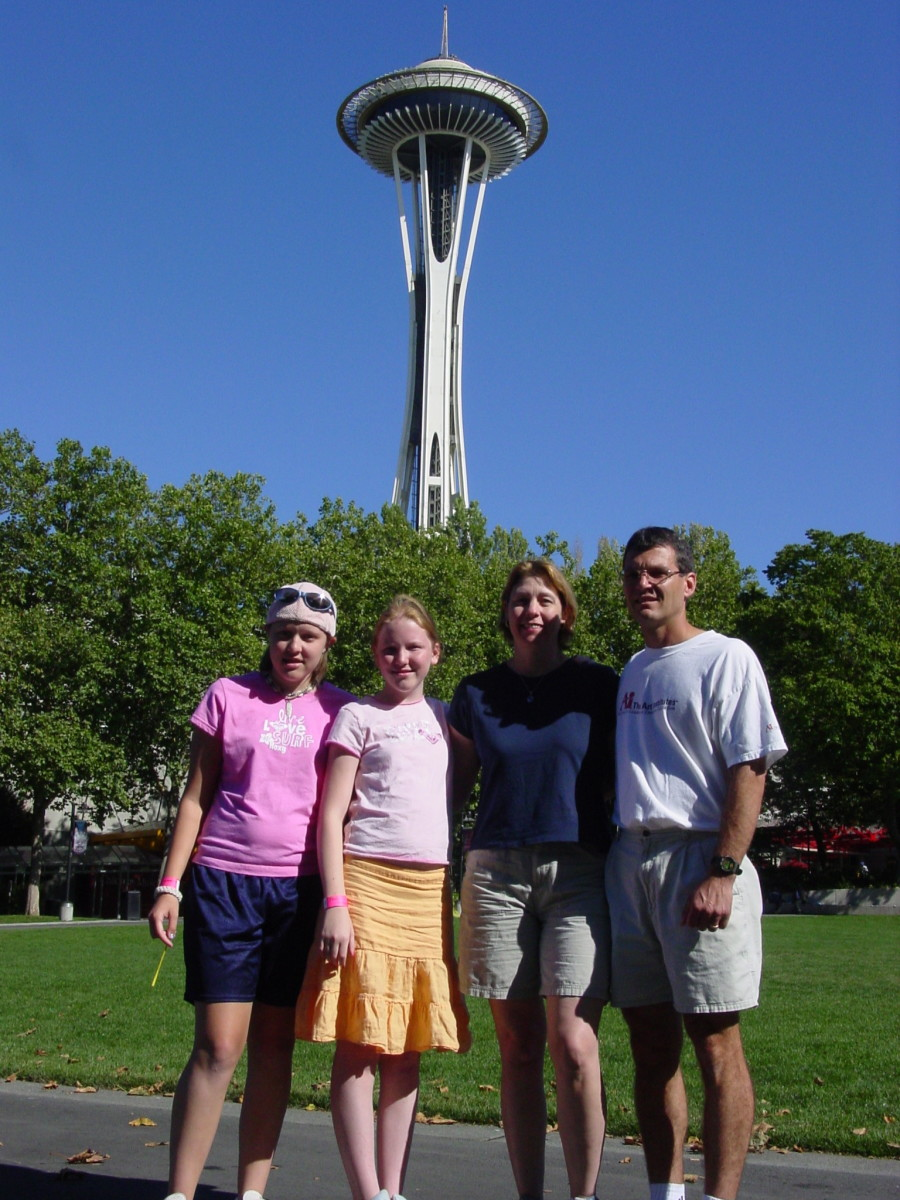 The gang in front of the Space Needle on a glorious summer day.