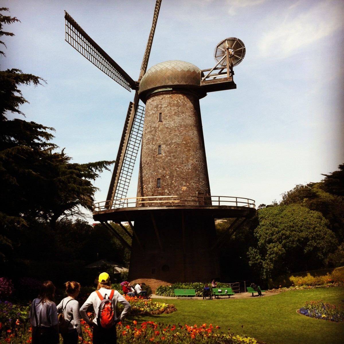 The Queen Wilhelmina Windmill, one of two Dutch-style windmills built in 1903 to pump water through the park. The north windmill is named after Queen Wilhelmina of The Netherlands who made a gift of the adjacent flower garden.