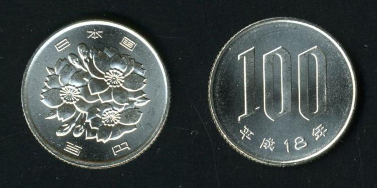 Front and back of a Japanese one-hundred Yen coin.