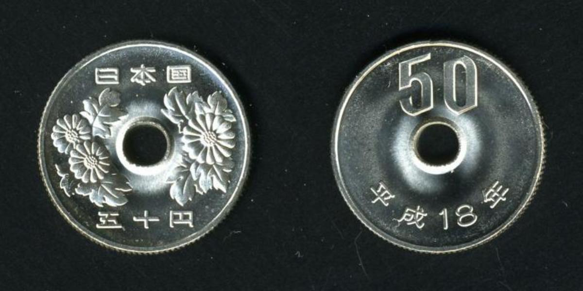 Front and back of a Japanese fifty Yen coin.