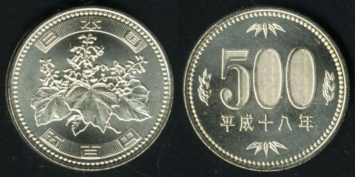 Front and back of a Japanese five-hundred yen coin.