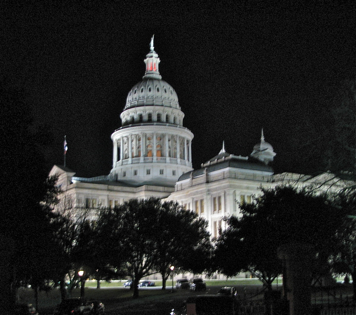 The Texas Capitol lights up the entire sky at night