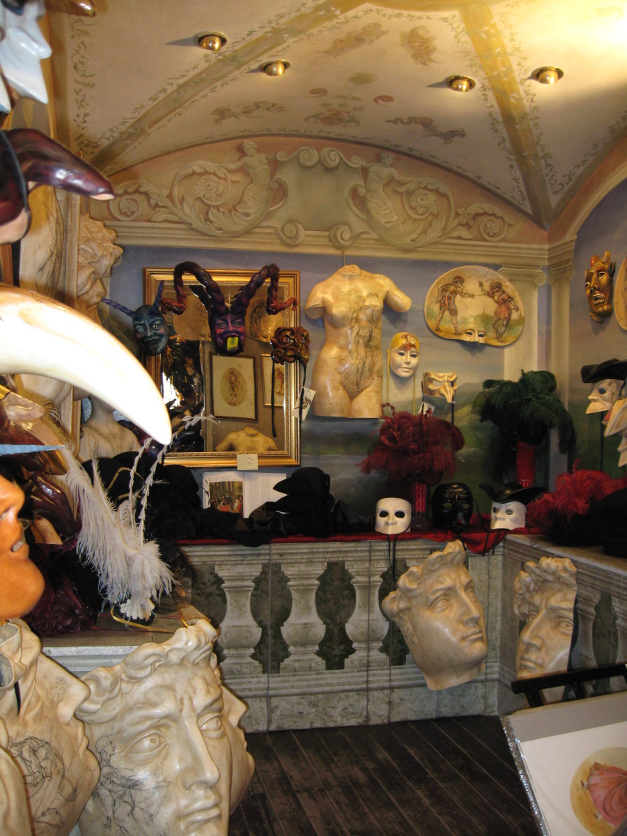 In Venice you can find many shops of Paper Mache Masks. They are hand made according to the tradition, and they can get quite expensive. Beware of the flooding of cheaper masks, still good looking, but made in China.