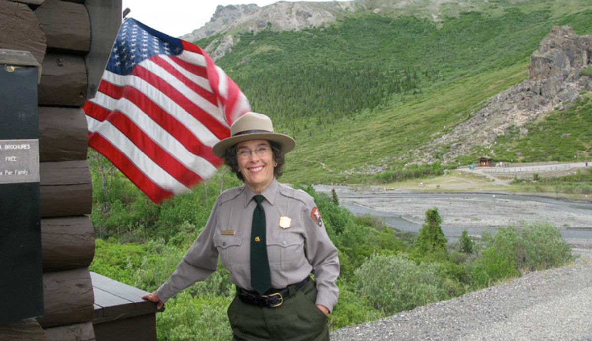 A park ranger greets visitors at Savage River Checkstation