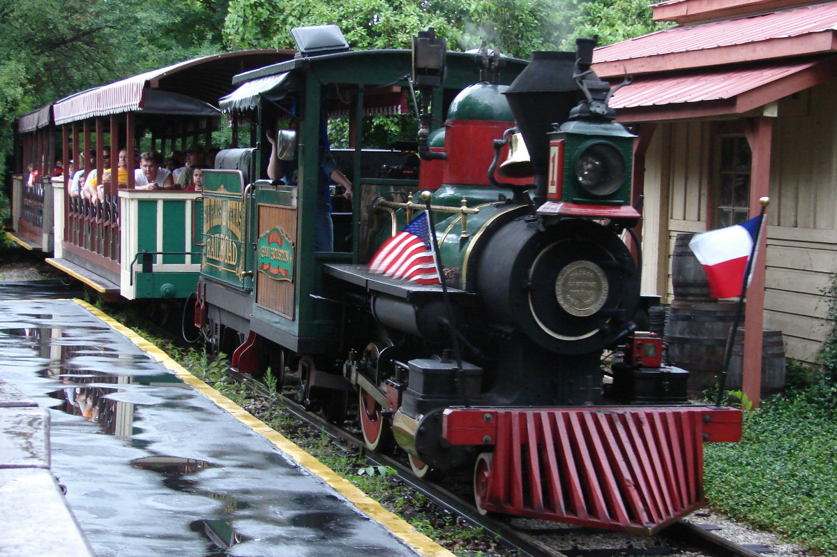 "The original Six Flags Railroad train ride, ""General Sam Houston, still in operation at Six Flags Over Texas in Arlington."