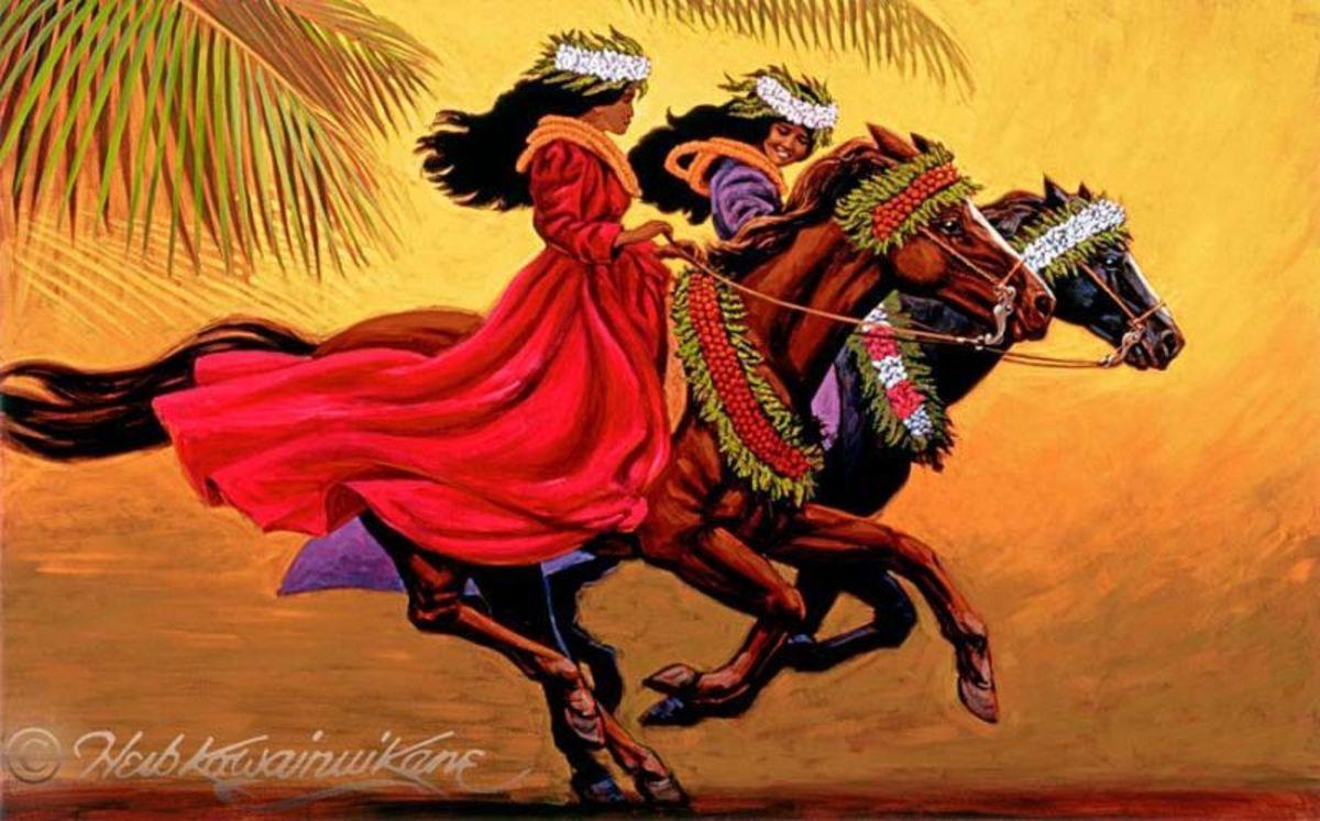 Pa'u Riders of Old Hawai'i by the artist Herb Kawainui Kane.