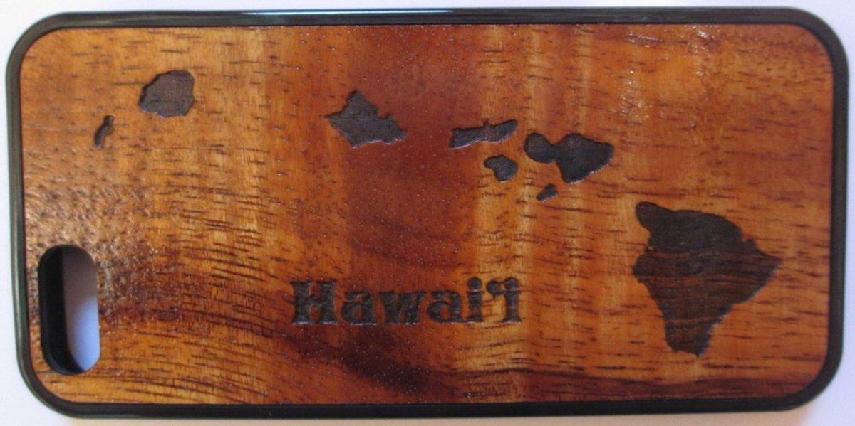 Koa wood cell phone case