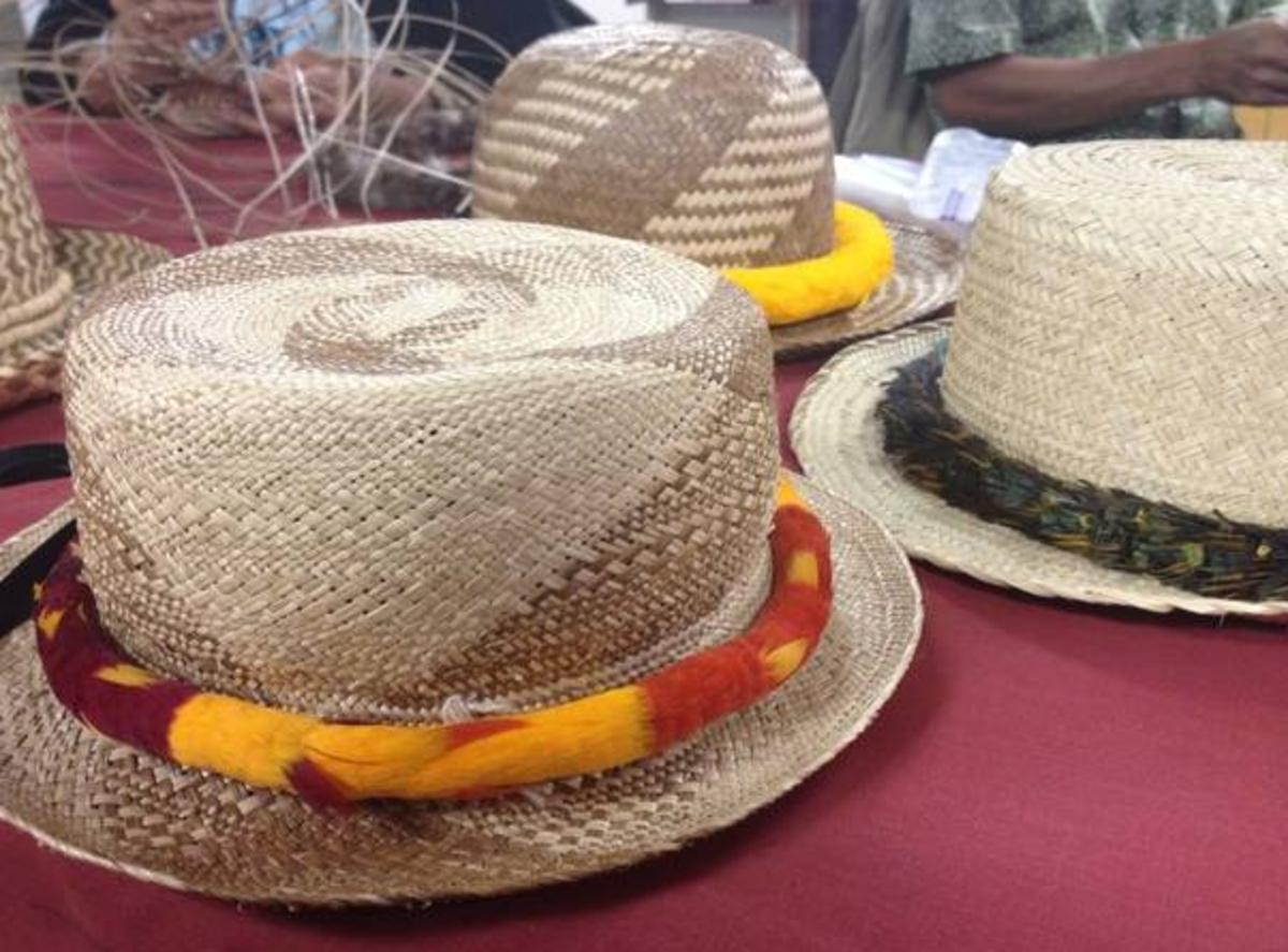 Lauhala hats woven by master weaver Lehua Domingo