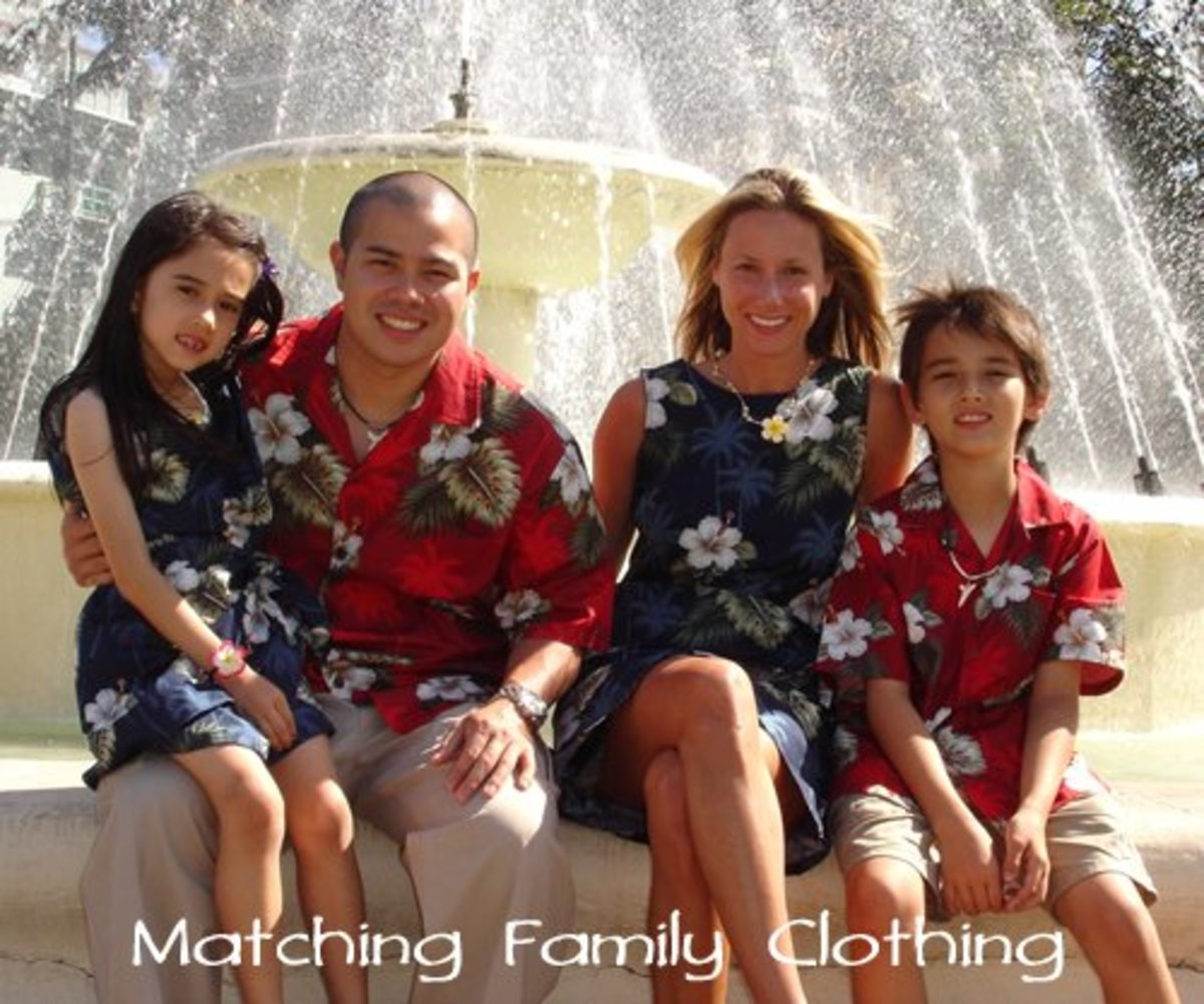 Matching family aloha wear is popular in the islands.