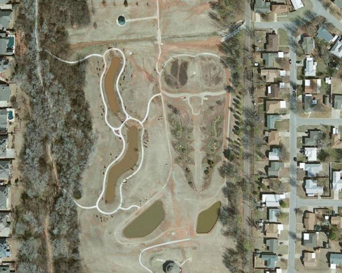 Aerial view of Chisholm Trail Park in Yukon, Oklahoma.