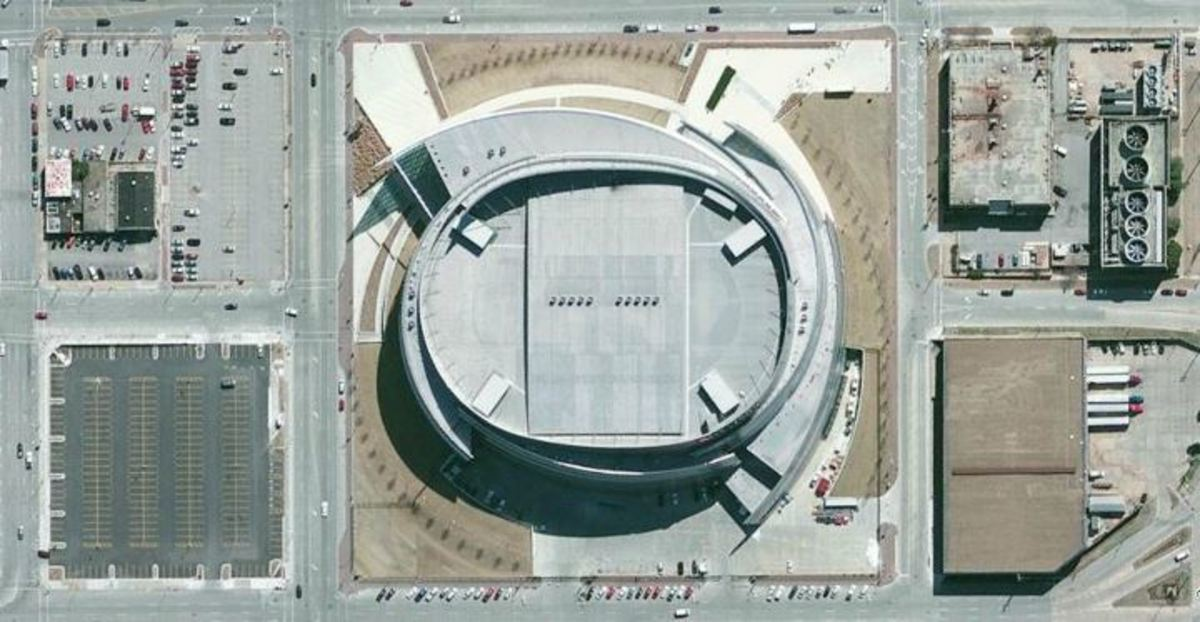 Aerial view of the Bank of Oklahoma Center in Tulsa.