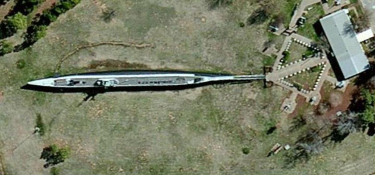 Aerial view of the U.S.S. Batfish in Muskogee, Oklahoma.