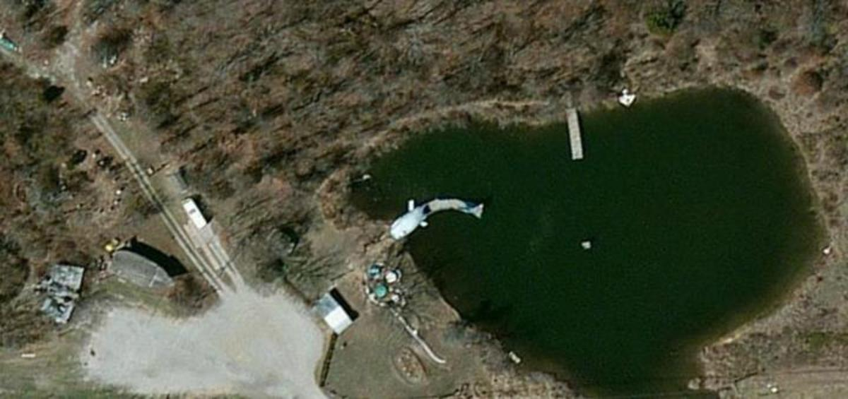 Aerial view of the blue whale in Catoosa, Oklahoma.