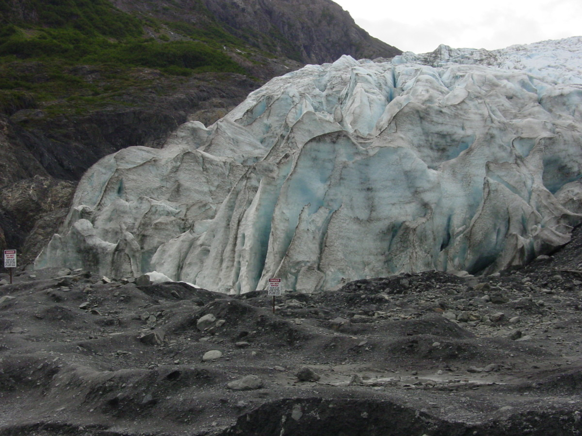 Exit Glacier, notice the caution signs.