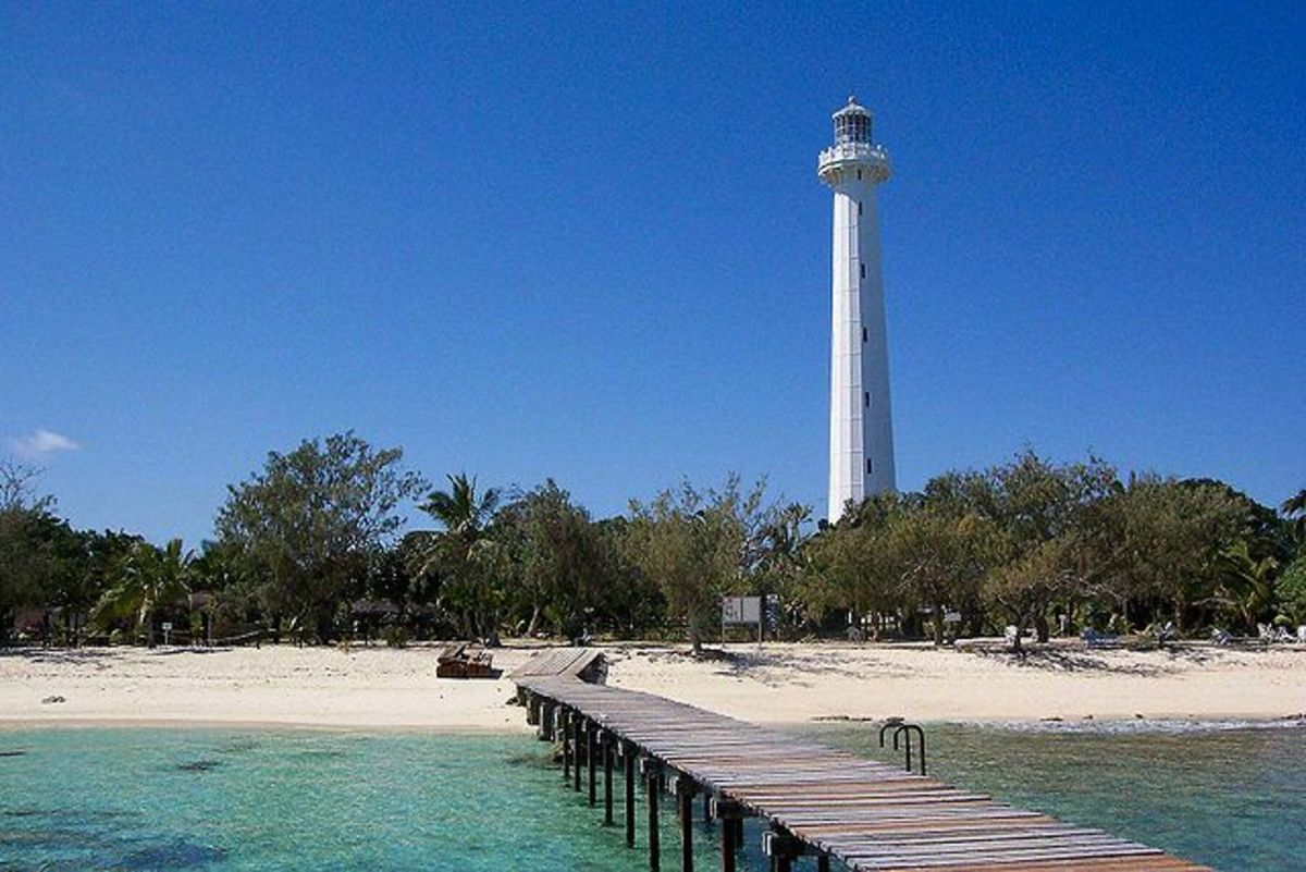 The Amédée lighthouse located outside of Nouméa, New Caledonia.