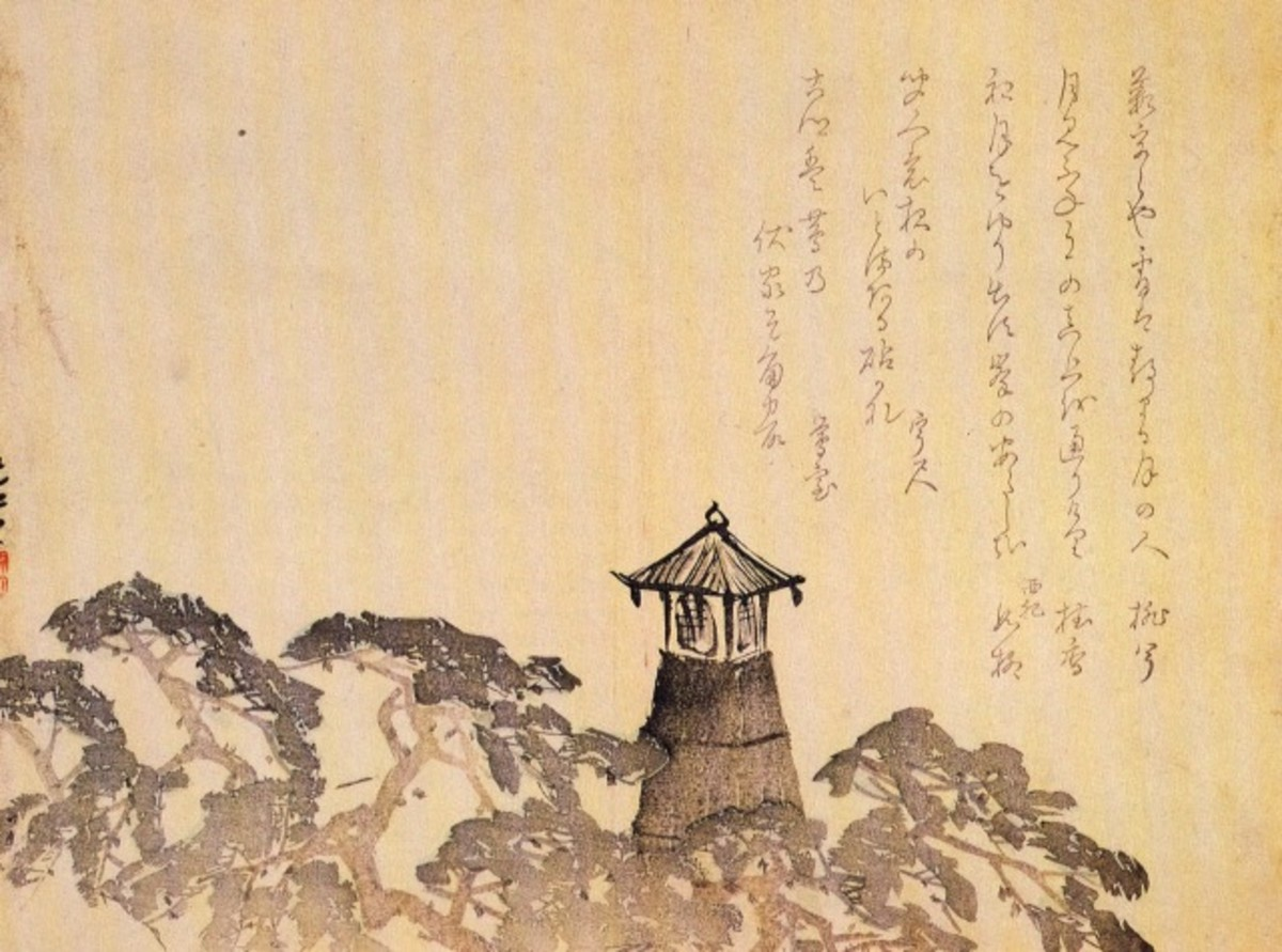 Ancient Japanese painting of the Sumiyoshi lighthouse.