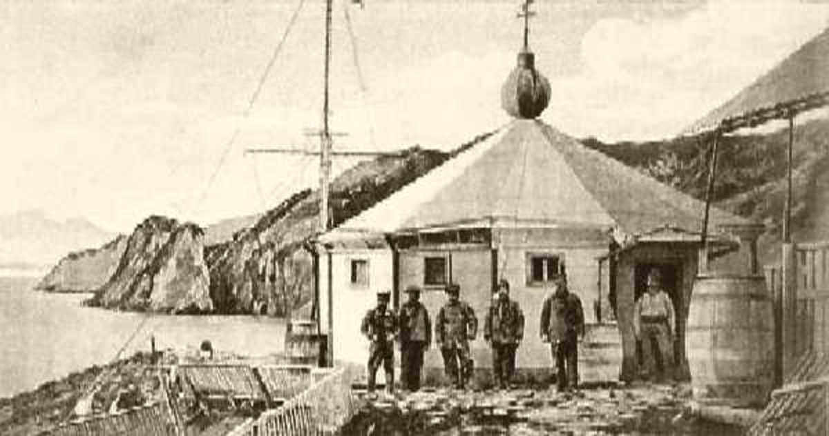 "The original San Juan del Salvamento lighthouse, or ""The Lighthouse at the End of the World"" on Isla de los Estados, Argentina in 1898."