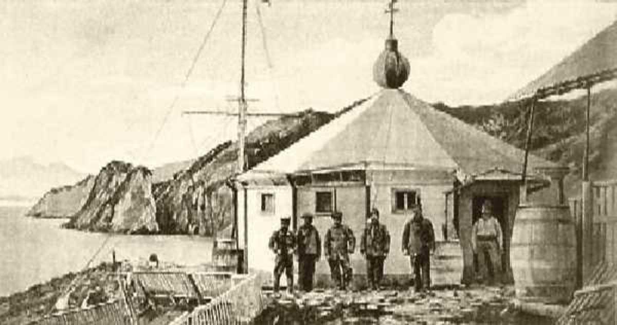 "The original San Juan del Salvamento lighthouse, or ""The Lighthouse at the End of the World"" on Isla de los Estados, Argentina in 1898."
