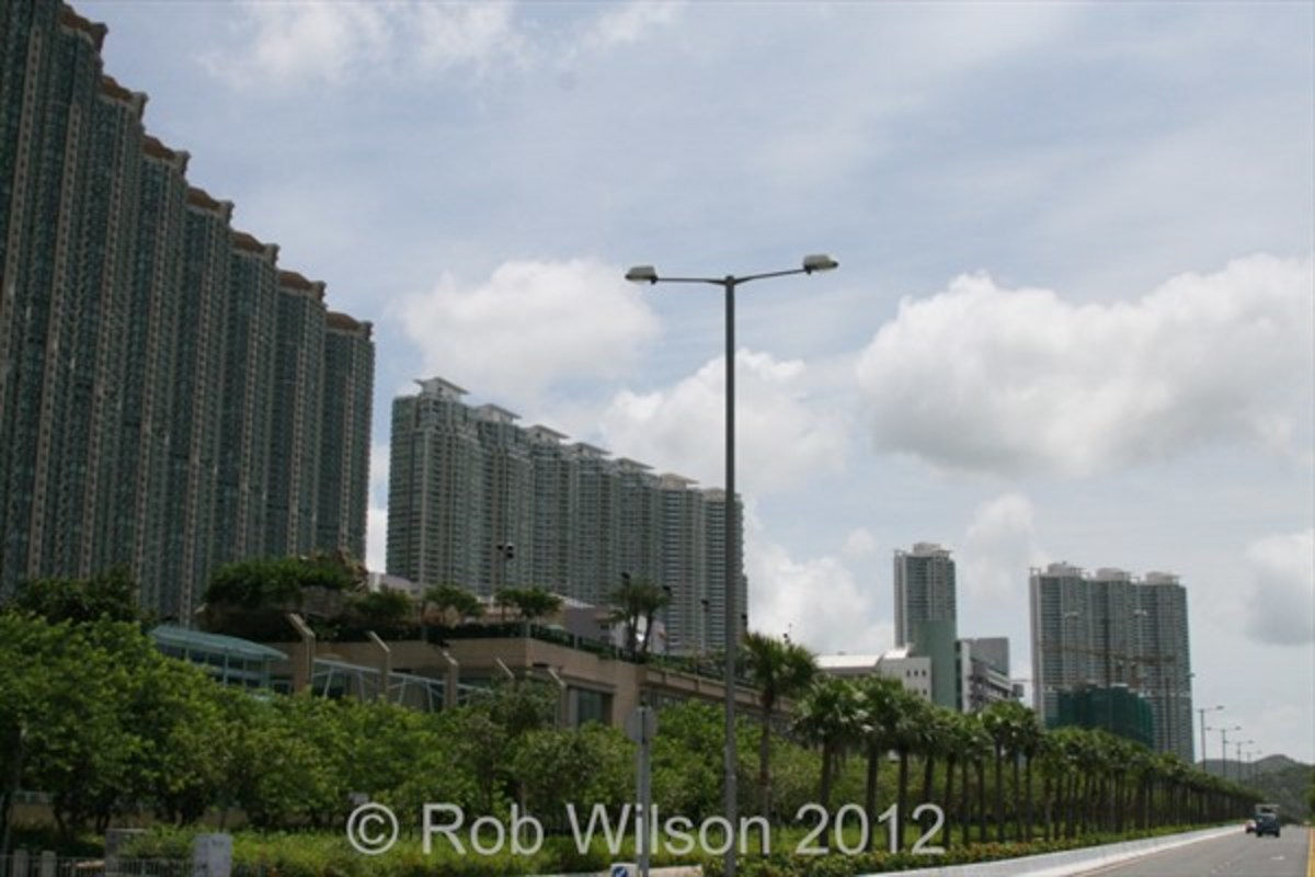 Caribbean Coast (left), Coastal Skyline (centre) and Seaview Crescent (right) in Tung Chung, on Lantau, Hong Kong.