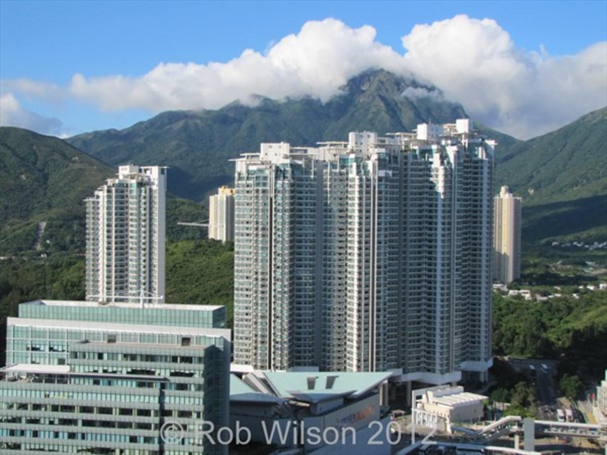 View of Tung Chung Crescent in Tung Chung, on Lantau Island, Hong Kong.