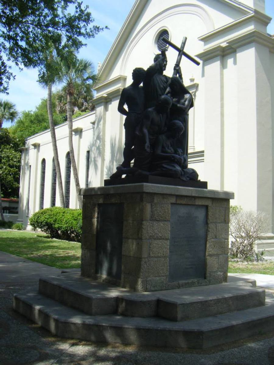 The Father Pedro Camps Statue, which is situate inside the cathedral courtyard.  Camps was a Roman Catholic priest and missionary from Minorca. He reestablished the Church of San Pedro on St. George Street in the late 18th Century. He die in 1790.